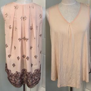 Pink peach paisley boho hi low hem blouse top